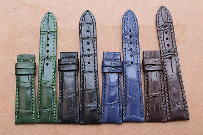 18mm/24mm Genuine Crocodile Alligator Skin Leather Watch Strap Band
