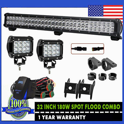 """32Inch LED Light Bar Combo +36W 4"""" PODS Fit OFFROAD SUV 4WD ATV FORD JEEP 50"""