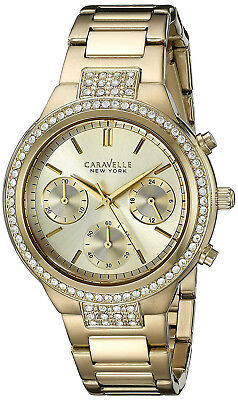 Caravelle New York 44L179 Gold Dial Gold Tone Stainless Chrono Women's Watch