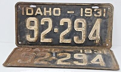 1931 IDAHO License Plate Collectible Antique Vintage 92-294 Matching Pair Set