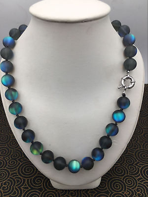 Natural 6/8/10/12mm Gray Gleamy Rainbow Moonstone Round Gems Necklace 18-36''