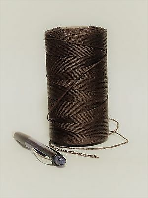 5-ply waxed LINEN? lacing thread: rug braiding weaving twine brown 7oz roll