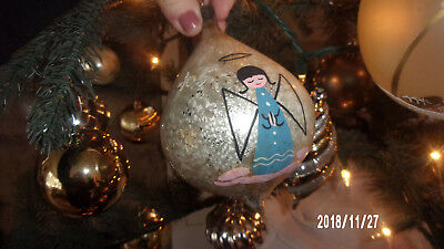 """Antique Glass Angels Painted 4.5"""" Vintage Christmas Ornament Decoration - Italy"""