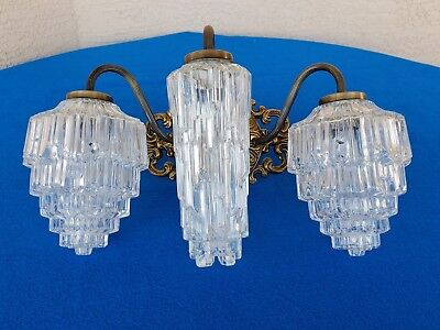 Vintage 1969 3 Bulb Electric Wall Light Fixture L&l Wmc Hollywood Regency L@@k