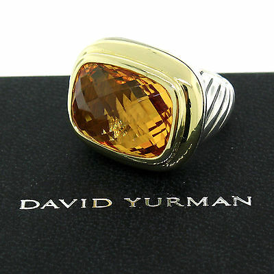 David Yurman Waverly Citrine Argent Sterling 18K or Chaton Grand Bague Taille 6
