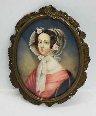 Antique Victorian Hand Painted Signed Miniature Portrait In Ornate Brass Frame