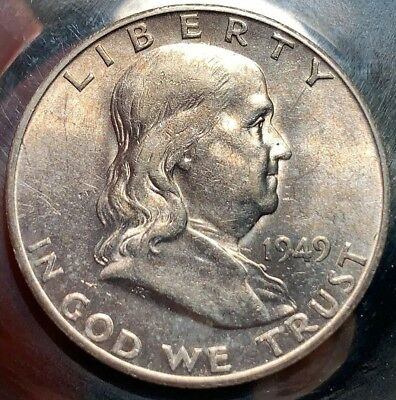 1949-S FRANKLIN Silver Half Toned AU Almost Uncirculated Plus 501