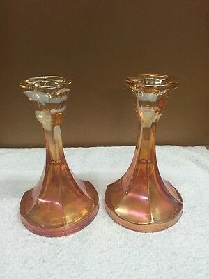 Multicolor Rose/Gold Pair Of Glass Candle Holders