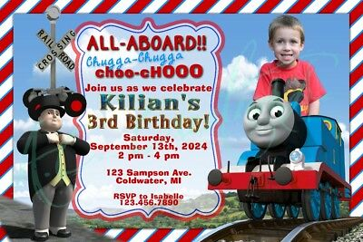 Thomas The Train Custom Birthday Party Invitation Unique