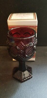 VINTAGE AVON 1876 CAPE COD WINE GOBLET RUBY RED COLLECTION new in box