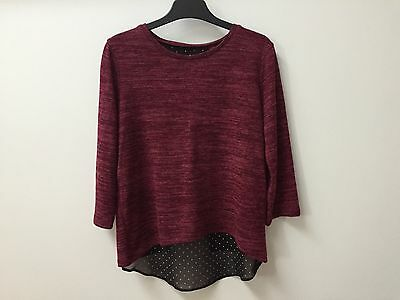 Burgundy Top With Split Back For Girls Ages 7 - 8 & 9 -10 Years Old