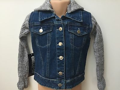 Girls Denim Jacket With Attachable Hood For Kids Age 3 4 5 6 7 8 9 10 Years