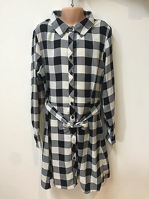 ex PRIMARK BLACK GREY WHITE CHECK GIRLS DRESS TOP CHECKED FOR 7 - 13 YEARS