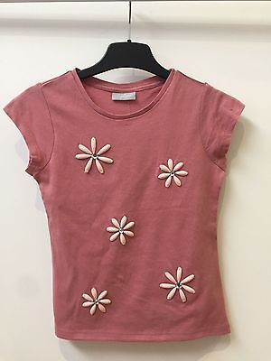 New Ex Matalan Pink Flowery Capped Sleeve Top For Girls Ages  3 4 7 12