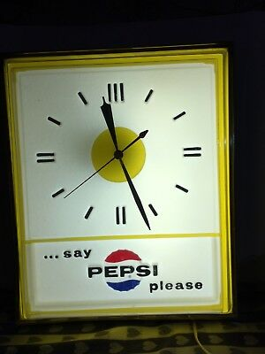"Pepsi clock, large lighted vintage ""Say Pepsi, please..."""