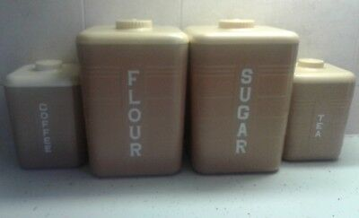 Vintage Yellow And Tan Plastic Republic Canister Set