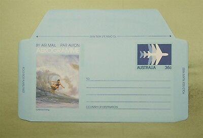 DR WHO AUSTRALIA UNUSED PICTORIAL SURFING AEROGRAMME  d51014
