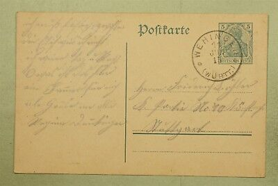 Dr Who 1915 Germany Wehingen Postal Card Stationery C46405