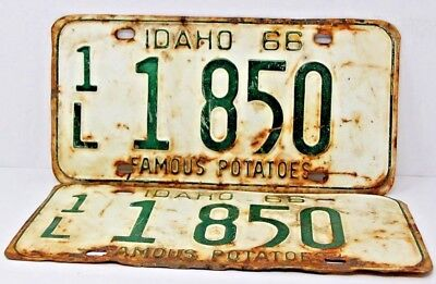 1966 IDAHO License Plate Collectible Antique Vintage Matching Set Pair 1L 1 850