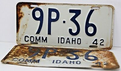 1942 IDAHO License Plate Collectible Antique Vintage Matching Set Pair 9P-36