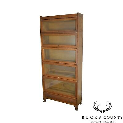 Antique Oak 5 Section Stacking Barrister Bookcase with Drawer by Weis