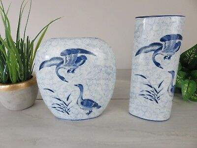 Pair of Blue and White Porcelain Japanese Yamaji Vases Goose Pattern