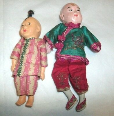 """2 Vintage Composition Chinese Dolls, 5 1/2"""", 7"""", Hand Painted Faces"""