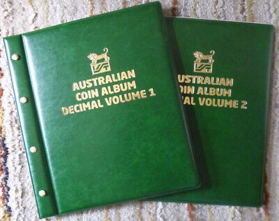 VST AUSTRALIAN 2 Volumes DECIMAL COIN ALBUMS GREEN Colour 1966 to 2018 MINTAGES