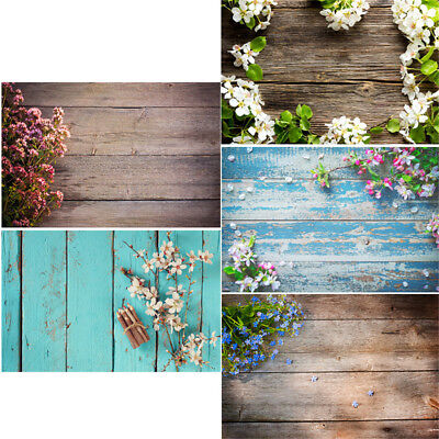 2x3ft/3x5ft Flower Wood Floor Photography Backdrop Studio Photo Background Props