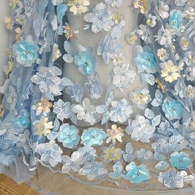 """51"""" Width Blue 3D Flower Embroidered Beaded Lace Fabric For Dress DIY 1 Yard"""
