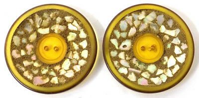 2 Large Gold Celluloid Buttons Coralene Glass Beads Mother of Pearl Chips