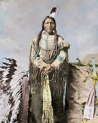 "LITTLE BIG MAN NATIVE AMERICAN INDIAN SIOUX 1877 8x10"" HAND COLOR TINTED PHOTO"