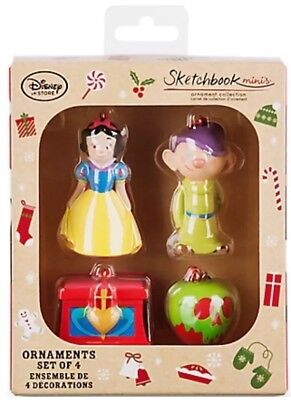 Disney Store Snow White and the Seven Dwarfs Sketchbook Mini's Ornament Set NIB!