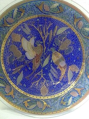 Vintage Stained Art Glass Plate Blue Mosaic Pheasant Bird Gold Leaf Plate