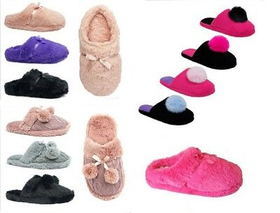 Womens Plush Slippers House Shoe Fuzzy Slip On Soft Slipper Indoor/Outdoor Mules