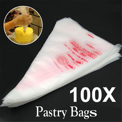 100Pcs Disposable Icing Piping Bag Fondant Cake Cream Decorating Pastry Tip Tool