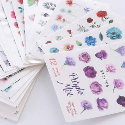 24pcs Watercolor Floral Flower Sticker Nail Decals Set Gel Manicure Water Slider