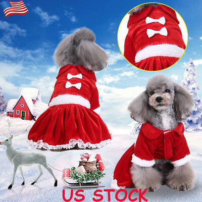 Pet Dog Puppy Christmas Dress Outfit T-Shirt Warm Jumper Clothes Xmas Costume US