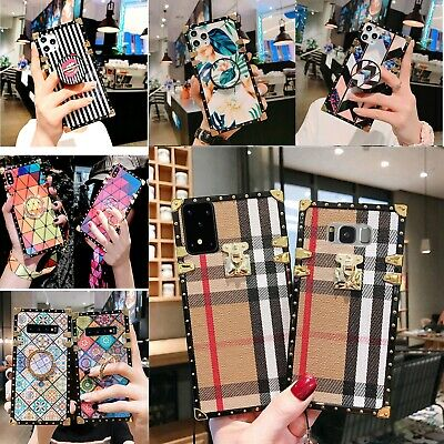 For Samsung S10 s10+ NOTE 9 8 Square black rose /PINK Pattern Leather Trunk Case