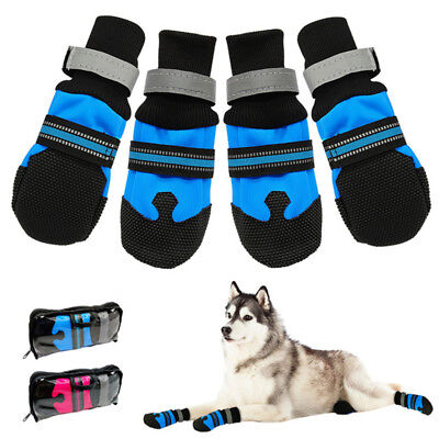4pcs Winter Pet Dog Shoes Anti-slip Snow Pet Boots Paw Protector Warm Reflective