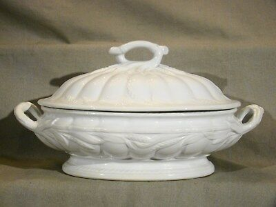 Antique Staffordshire White Ironstone Ceres Shape Oval Large Tureen & Cover