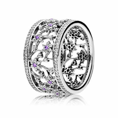 Forget Me Not Pandora Sterling Silver CZ Band Ring 190991ACZ RRP $159
