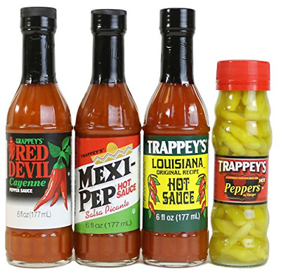 Trappey's Hot Sauces - Mexi-Pep, Red Devil, Louisiana 6 Oz Ea and Peppers in 4.5