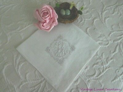 GORGEOUS Antique MADEIRA Embroidered MONOGRAM * H * Vintage BRIDAL Wedding HANKY