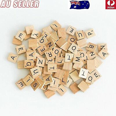 100-200Pcs Wooden Alphabet Scrabble Tiles Black Letters Numbers For Crafts Wood