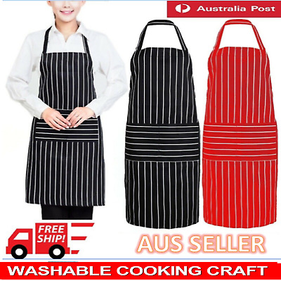 Red & Black Apron Catering Cooking Professional Chef Aprons Navy Kitchen Cafe