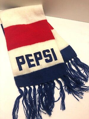 ea47b2ba781 60 Inch PEPSI Cola Vintage Red White Blue Knit Winter NECK SCARF  Collectible USA
