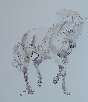 Original Painting Horse Contemporary Modern Art Ink Watercolour
