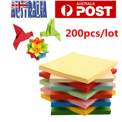 200 Sheets 10 Colours Origami Square Paper Craft Folding 15x15cm Double Sided AU