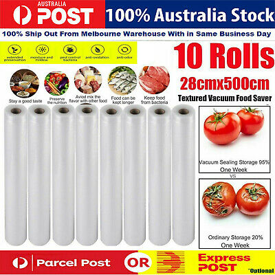 Vacuum Food Sealer 1/2/4/6/10 Rolls 5MX28cm Saver Seal Storage Heat Grade AU